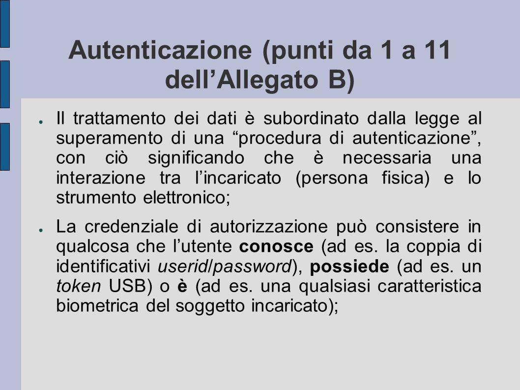 Autenticazione (punti da 1 a 11 dellAllegato B) Il trattamento dei dati è subordinato dalla legge al superamento di una procedura di autenticazione, c