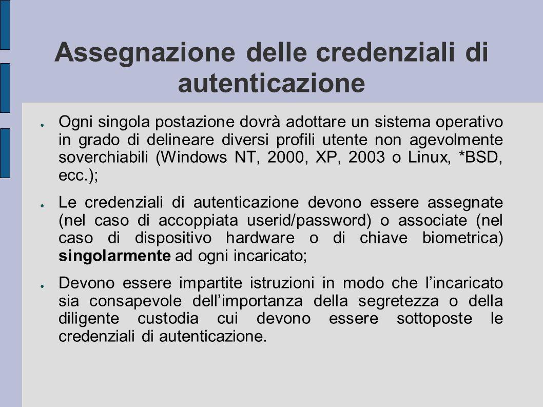 Assegnazione delle credenziali di autenticazione Ogni singola postazione dovrà adottare un sistema operativo in grado di delineare diversi profili ute