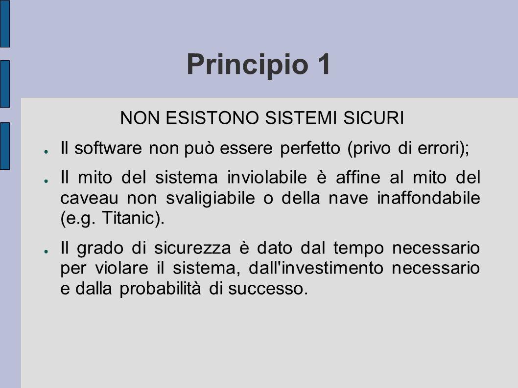 Principio 1 NON ESISTONO SISTEMI SICURI Il software non può essere perfetto (privo di errori); Il mito del sistema inviolabile è affine al mito del caveau non svaligiabile o della nave inaffondabile (e.g.