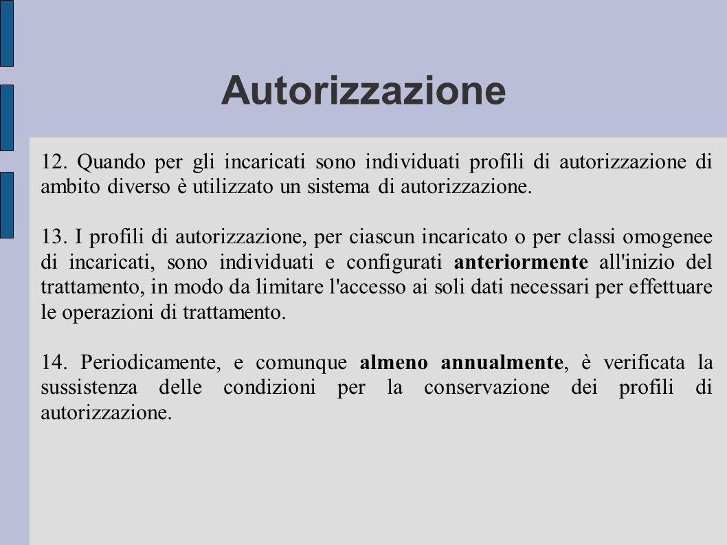 Autorizzazione 12. Quando per gli incaricati sono individuati profili di autorizzazione di ambito diverso è utilizzato un sistema di autorizzazione. 1