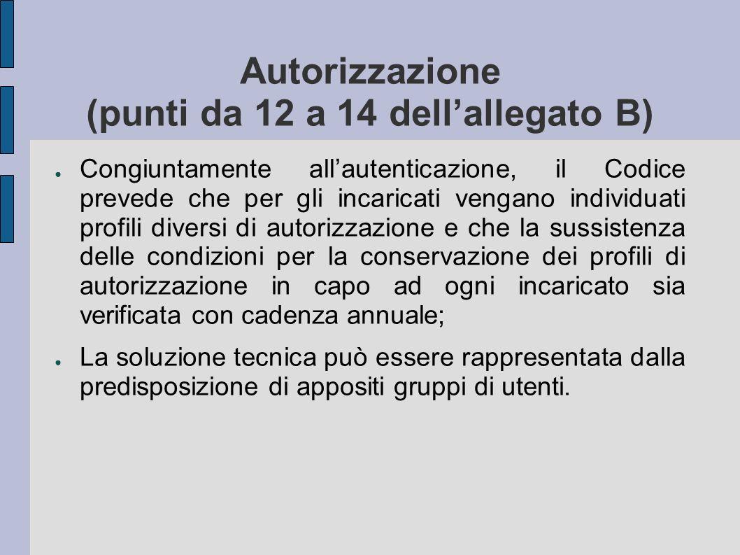 Autorizzazione (punti da 12 a 14 dellallegato B) Congiuntamente allautenticazione, il Codice prevede che per gli incaricati vengano individuati profil