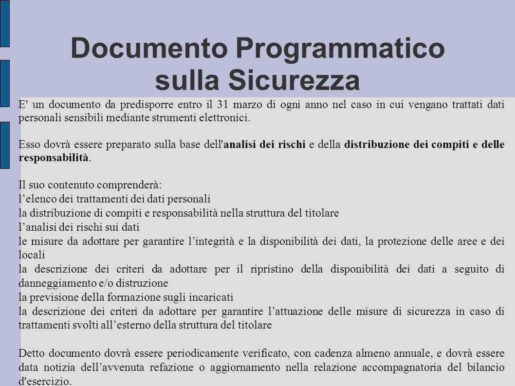 Documento Programmatico sulla Sicurezza E' un documento da predisporre entro il 31 marzo di ogni anno nel caso in cui vengano trattati dati personali