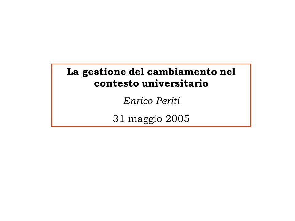 La gestione del cambiamento nel contesto universitario Enrico Periti 31 maggio 2005