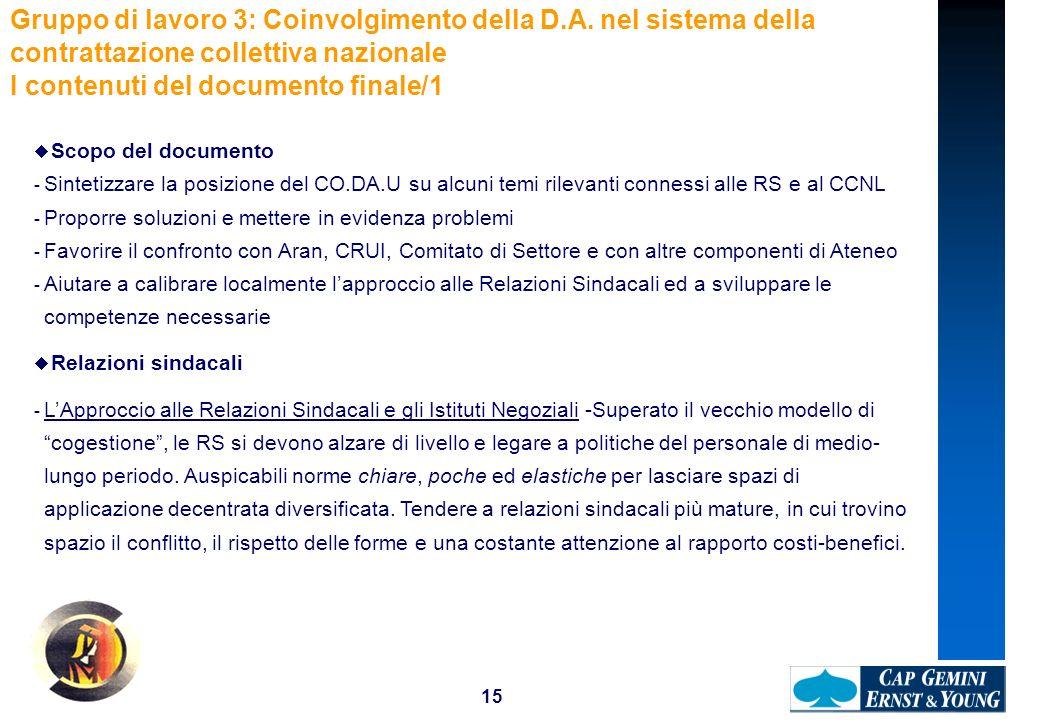 15 Gruppo di lavoro 3: Coinvolgimento della D.A. nel sistema della contrattazione collettiva nazionale I contenuti del documento finale/1 Scopo del do