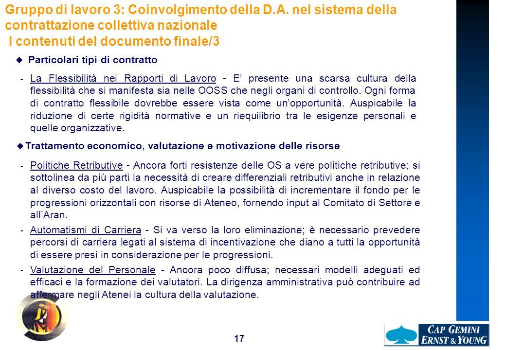 17 Gruppo di lavoro 3: Coinvolgimento della D.A. nel sistema della contrattazione collettiva nazionale I contenuti del documento finale/3 Particolari