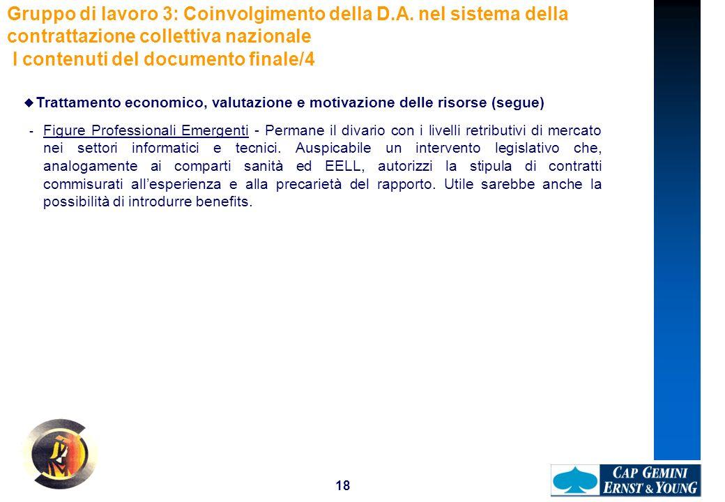 18 Gruppo di lavoro 3: Coinvolgimento della D.A. nel sistema della contrattazione collettiva nazionale I contenuti del documento finale/4 Trattamento