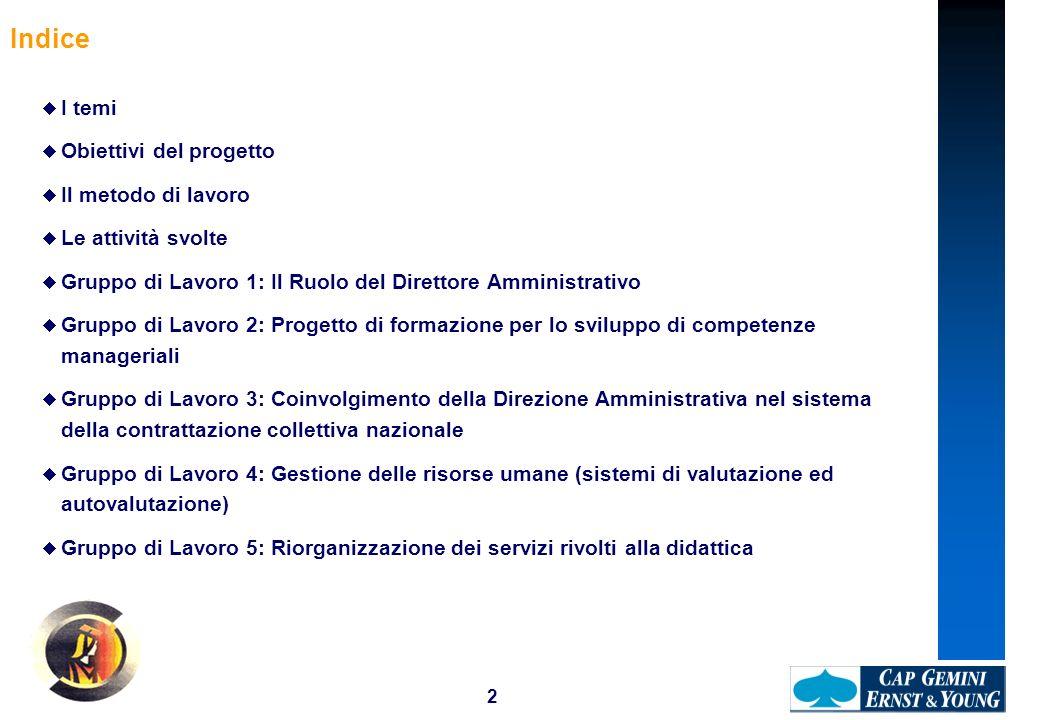 2 Indice I temi Obiettivi del progetto Il metodo di lavoro Le attività svolte Gruppo di Lavoro 1: Il Ruolo del Direttore Amministrativo Gruppo di Lavo