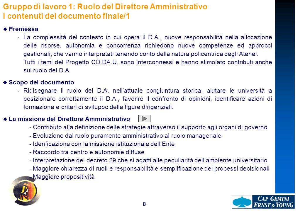 8 Gruppo di lavoro 1: Ruolo del Direttore Amministrativo I contenuti del documento finale/1 Premessa - La complessità del contesto in cui opera il D.A