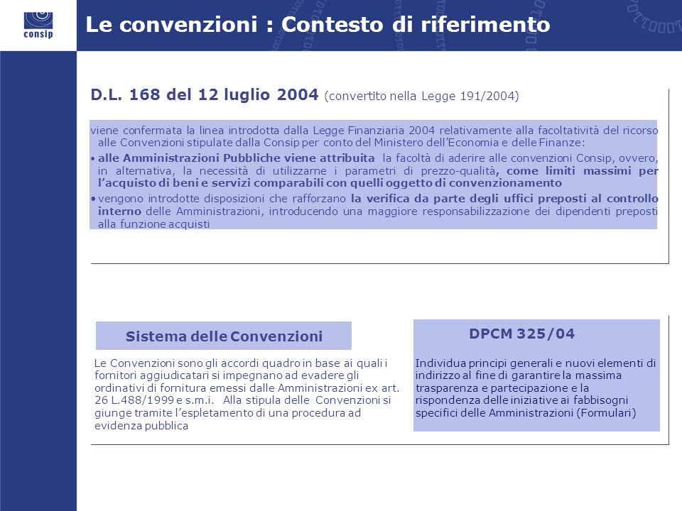 Le convenzioni : Contesto di riferimento Sistema delle Convenzioni Le Convenzioni sono gli accordi quadro in base ai quali i fornitori aggiudicatari s
