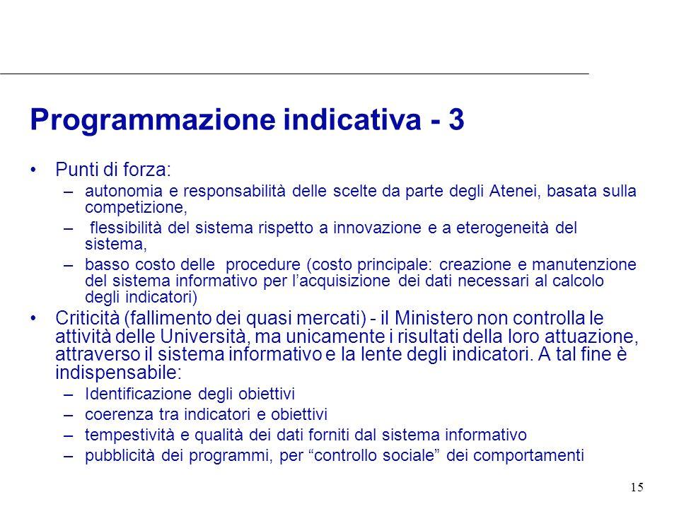 15 Programmazione indicativa - 3 Punti di forza: –autonomia e responsabilità delle scelte da parte degli Atenei, basata sulla competizione, – flessibi