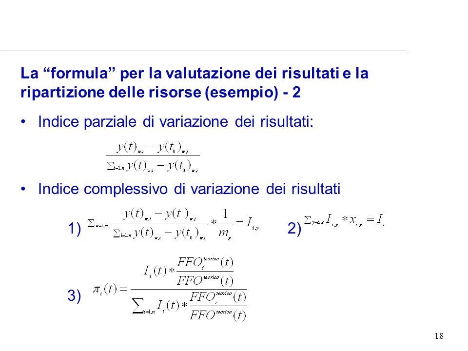18 La formula per la valutazione dei risultati e la ripartizione delle risorse (esempio) - 2 Indice parziale di variazione dei risultati: Indice complessivo di variazione dei risultati 1) 2) 3)