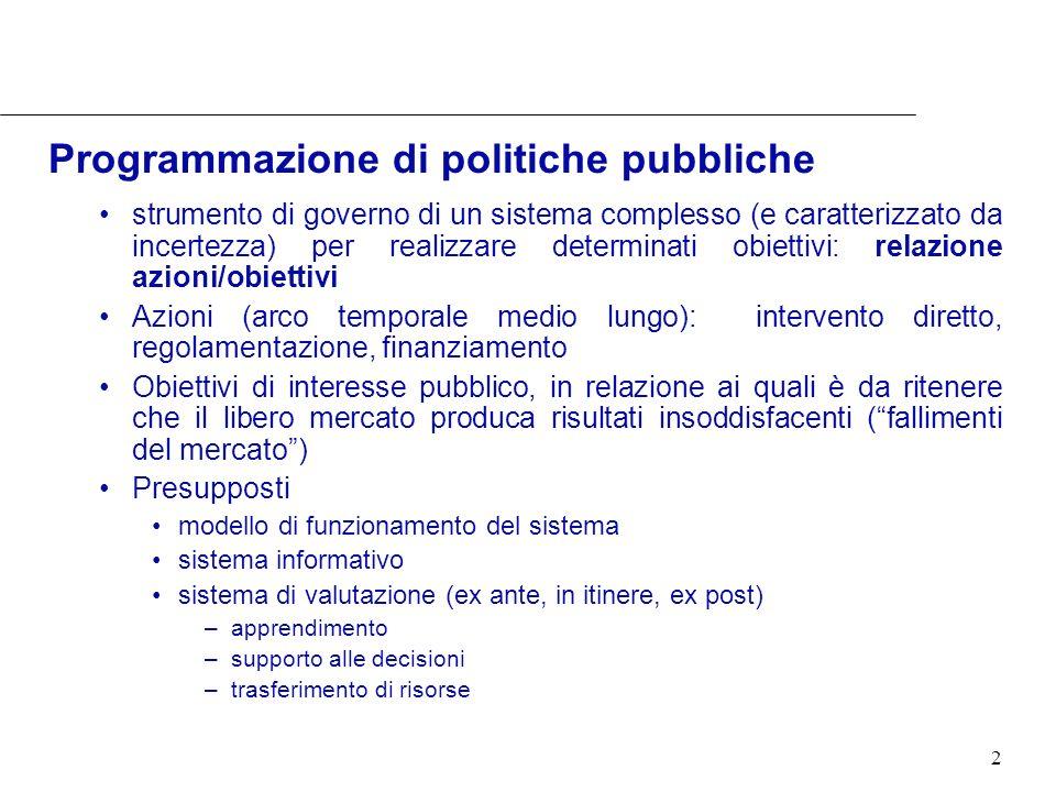 2 Programmazione di politiche pubbliche strumento di governo di un sistema complesso (e caratterizzato da incertezza) per realizzare determinati obiet