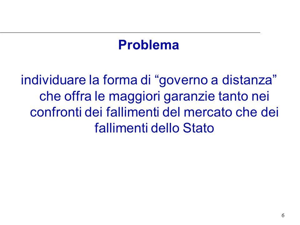 6 Problema individuare la forma di governo a distanza che offra le maggiori garanzie tanto nei confronti dei fallimenti del mercato che dei fallimenti dello Stato