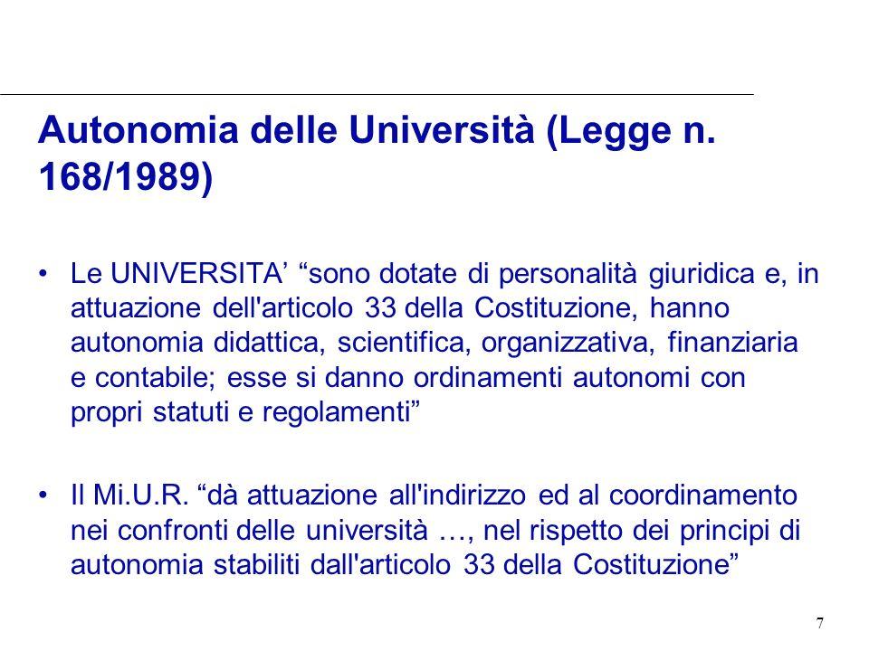 7 Autonomia delle Università (Legge n. 168/1989) Le UNIVERSITA sono dotate di personalità giuridica e, in attuazione dell'articolo 33 della Costituzio