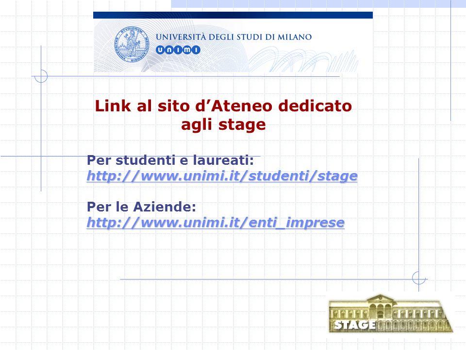 Link al sito dAteneo dedicato agli stage http://www.unimi.it/studenti/stage http://www.unimi.it/studenti/stage Per studenti e laureati: http://www.unimi.it/studenti/stage http://www.unimi.it/studenti/stage Per le Aziende: http://www.unimi.it/enti_imprese