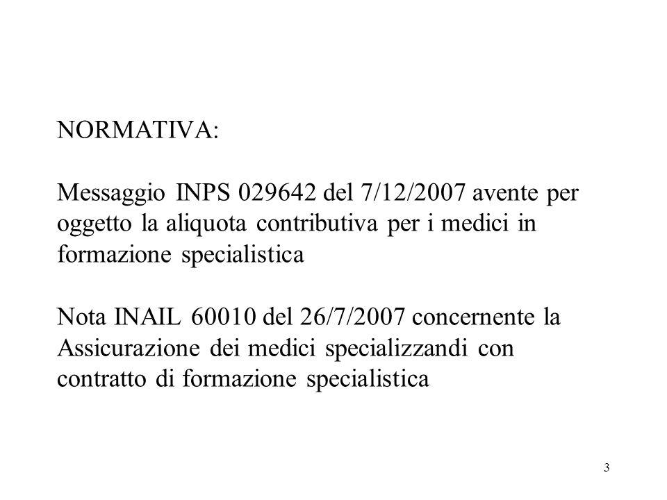 3 NORMATIVA: Messaggio INPS 029642 del 7/12/2007 avente per oggetto la aliquota contributiva per i medici in formazione specialistica Nota INAIL 60010 del 26/7/2007 concernente la Assicurazione dei medici specializzandi con contratto di formazione specialistica