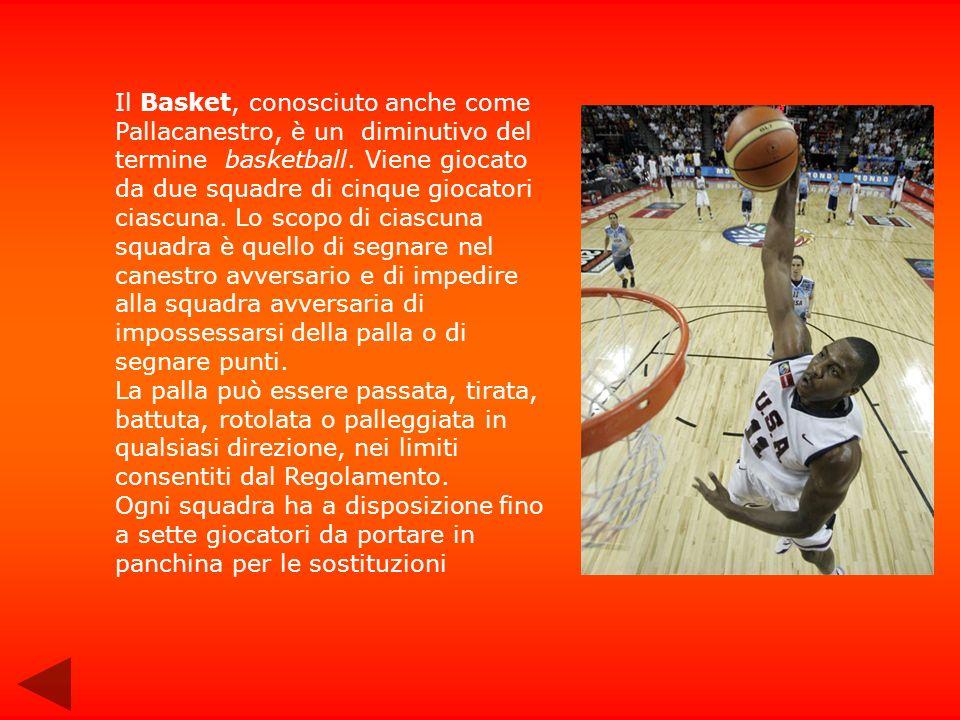 Storia del basket La pallacanestro, conosciuta anche come basket, diminutivo del termine inglese basketball, è uno sport di squadra in cui due squadre di cinque giocatori ciascuna si affrontano per segnare con un pallone nel canestro avversario, secondo una serie di regole prefissate.