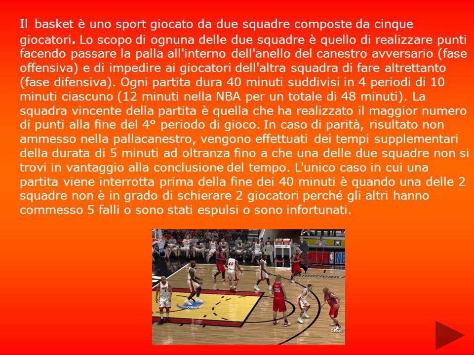 Il basket è uno sport giocato da due squadre composte da cinque giocatori. Lo scopo di ognuna delle due squadre è quello di realizzare punti facendo p