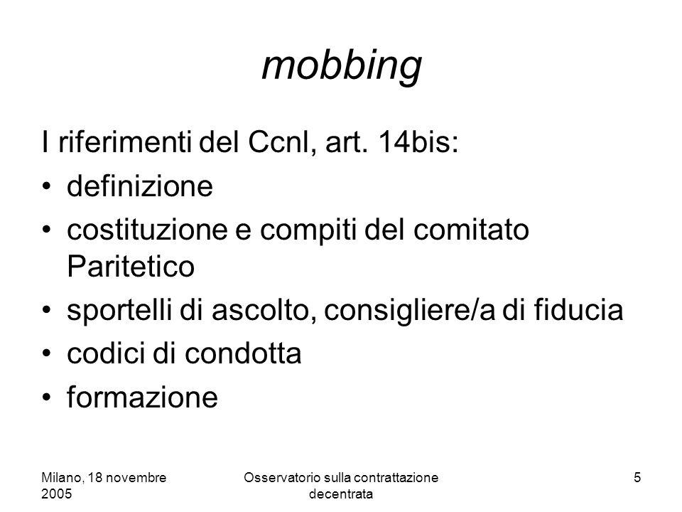 Milano, 18 novembre 2005 Osservatorio sulla contrattazione decentrata 5 mobbing I riferimenti del Ccnl, art. 14bis: definizione costituzione e compiti