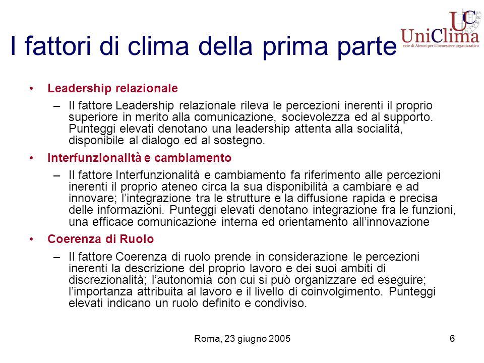 Roma, 23 giugno 20056 I fattori di clima della prima parte Leadership relazionale –Il fattore Leadership relazionale rileva le percezioni inerenti il proprio superiore in merito alla comunicazione, socievolezza ed al supporto.