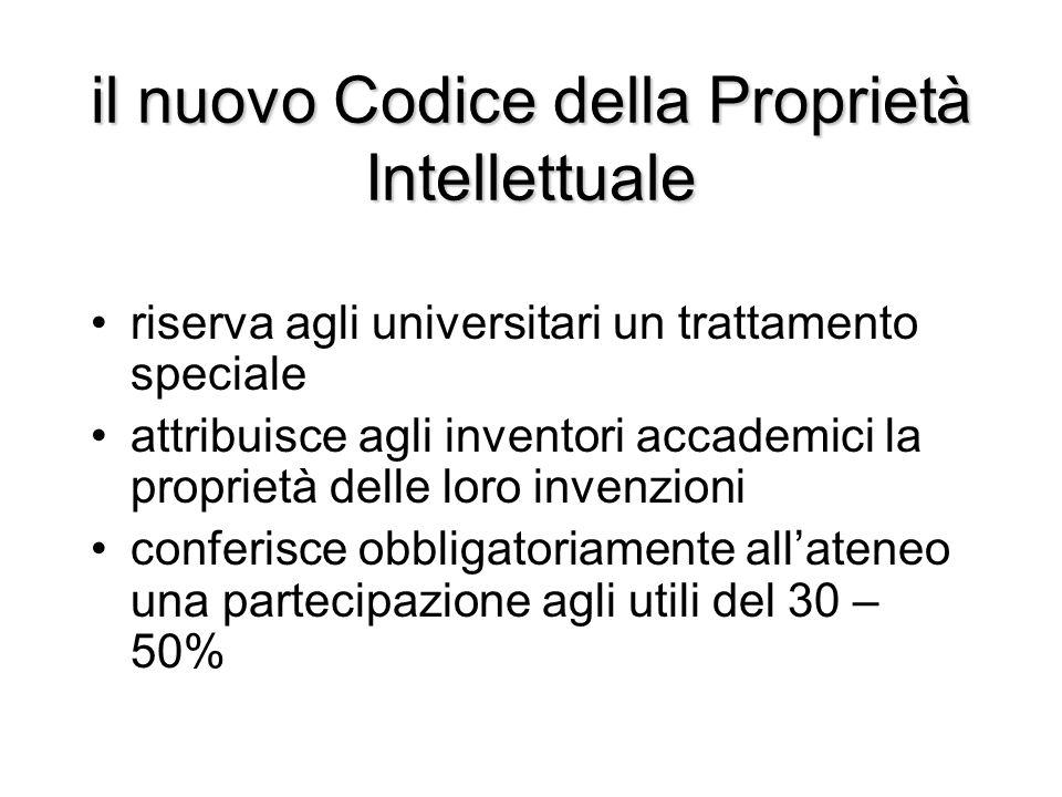il nuovo Codice della Proprietà Intellettuale riserva agli universitari un trattamento speciale attribuisce agli inventori accademici la proprietà del