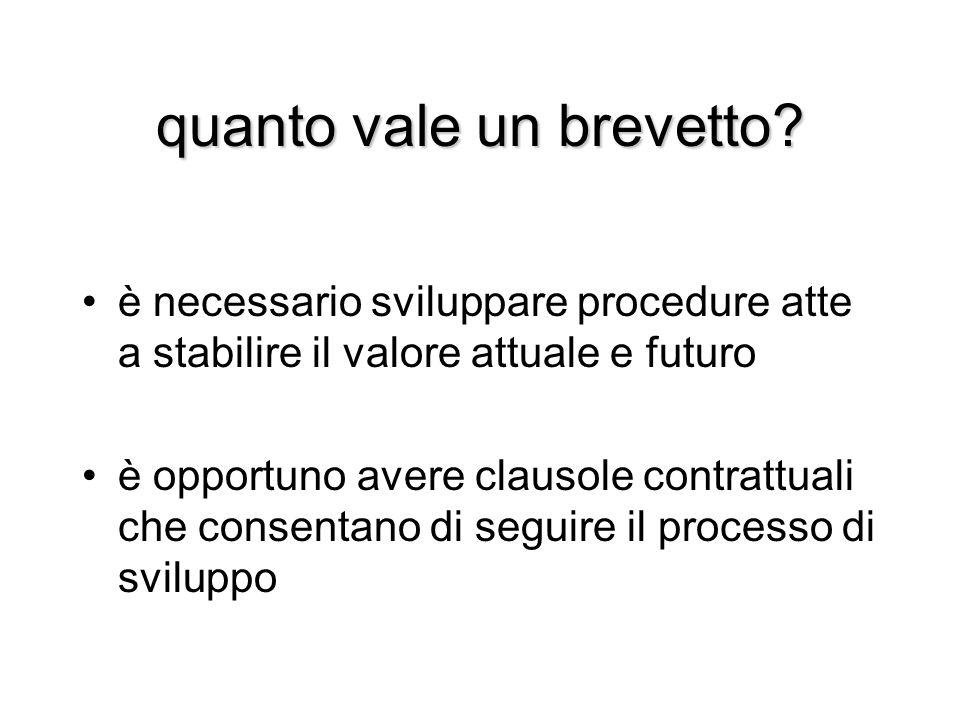 quanto vale un brevetto? è necessario sviluppare procedure atte a stabilire il valore attuale e futuro è opportuno avere clausole contrattuali che con