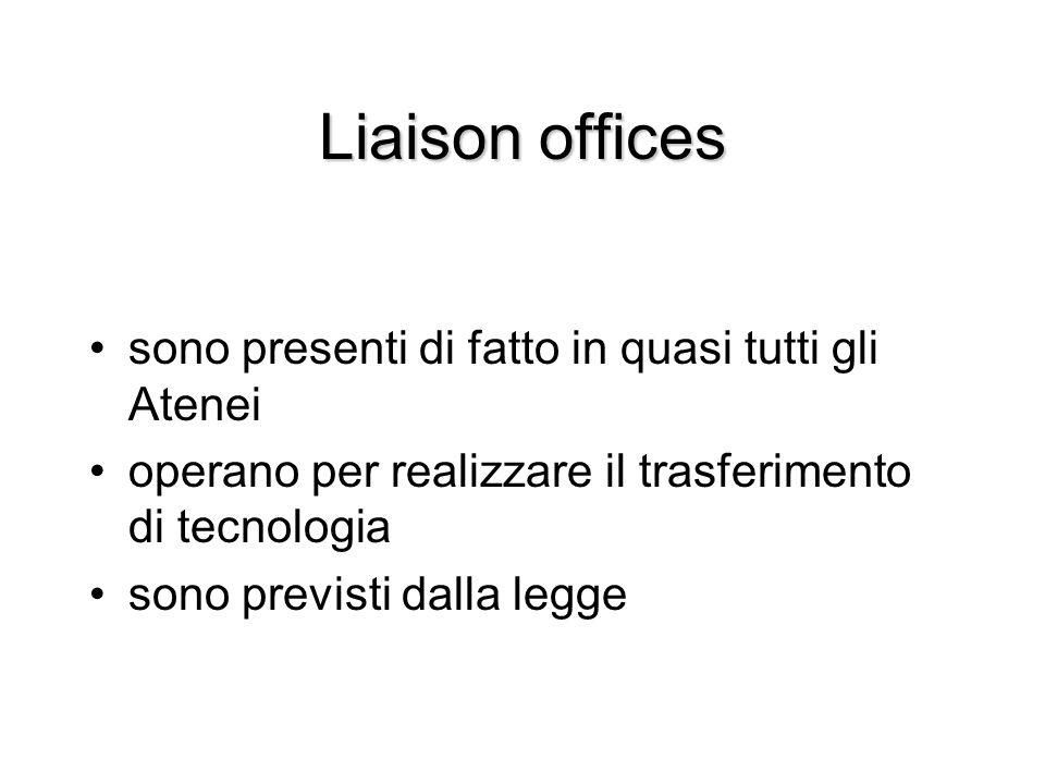 Liaison offices sono presenti di fatto in quasi tutti gli Atenei operano per realizzare il trasferimento di tecnologia sono previsti dalla legge