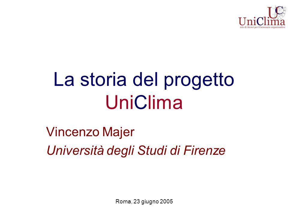 Roma, 23 giugno 2005 La storia del progetto UniClima Vincenzo Majer Università degli Studi di Firenze