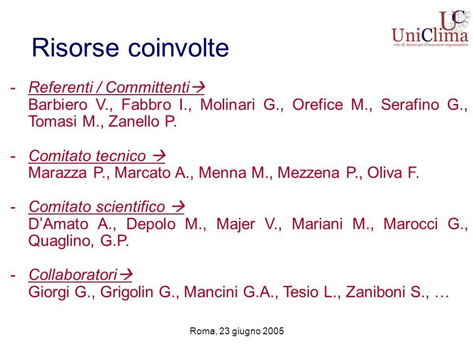 Roma, 23 giugno 2005 Risorse coinvolte -Referenti / Committenti Barbiero V., Fabbro I., Molinari G., Orefice M., Serafino G., Tomasi M., Zanello P. -C