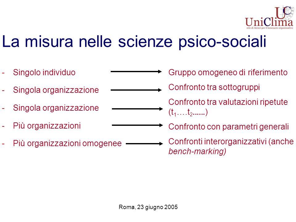 Roma, 23 giugno 2005 La misura nelle scienze psico-sociali -Singolo individuo -Singola organizzazione -Più organizzazioni -Più organizzazioni omogenee