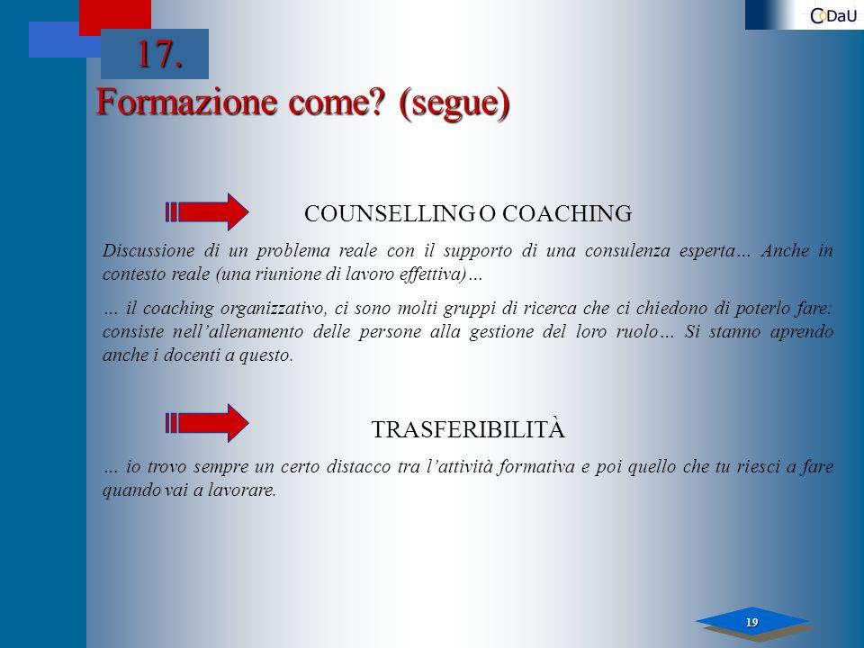 19 Formazione come? (segue) COUNSELLING O COACHING Discussione di un problema reale con il supporto di una consulenza esperta… Anche in contesto reale