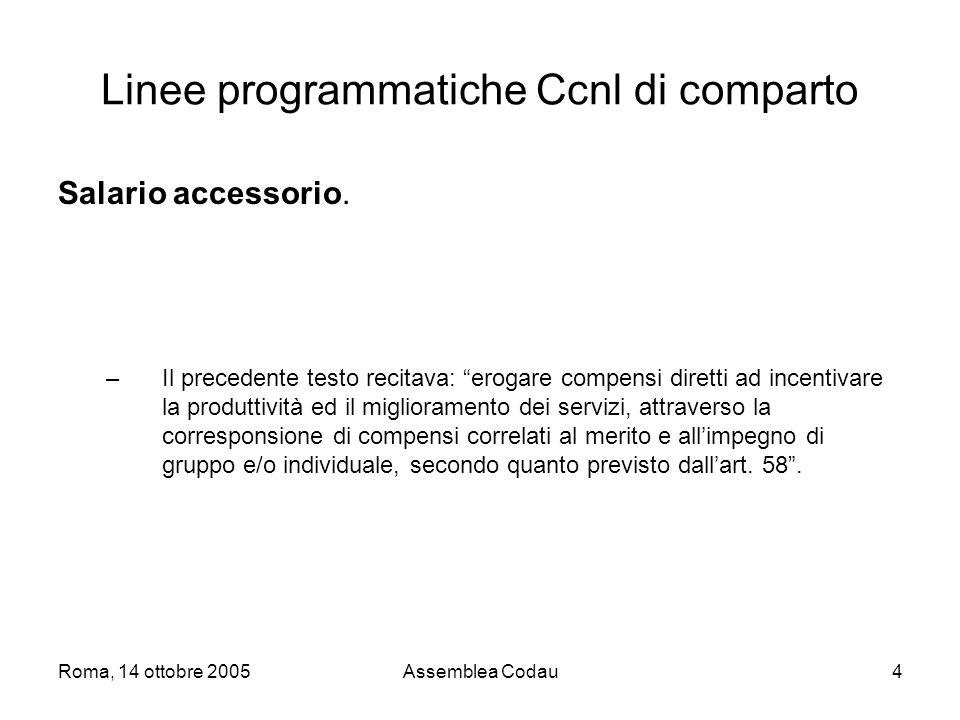 Roma, 14 ottobre 2005Assemblea Codau4 Linee programmatiche Ccnl di comparto Salario accessorio.