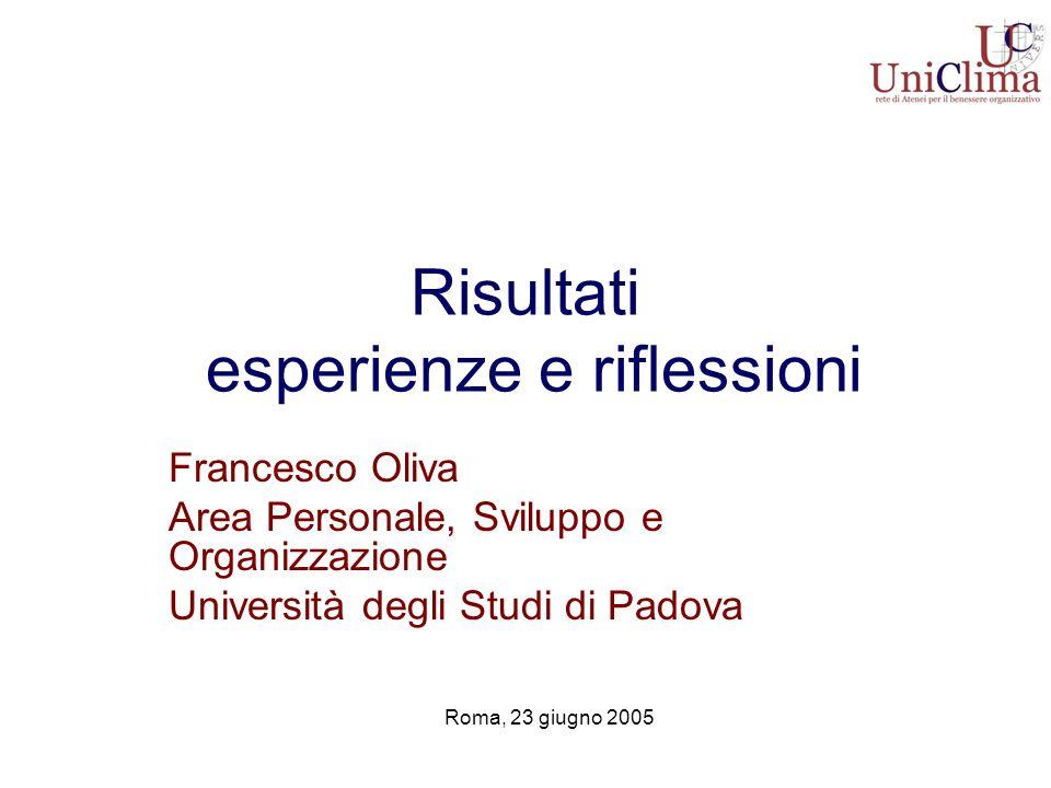 Risultati esperienze e riflessioni Francesco Oliva Area Personale, Sviluppo e Organizzazione Università degli Studi di Padova Roma, 23 giugno 2005