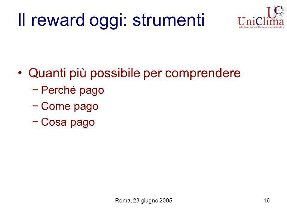 Roma, 23 giugno 200516 Il reward oggi: strumenti Quanti più possibile per comprendere Perché pago Come pago Cosa pago