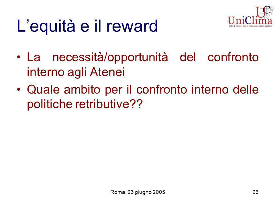 Roma, 23 giugno 200525 Lequità e il reward La necessità/opportunità del confronto interno agli Atenei Quale ambito per il confronto interno delle politiche retributive
