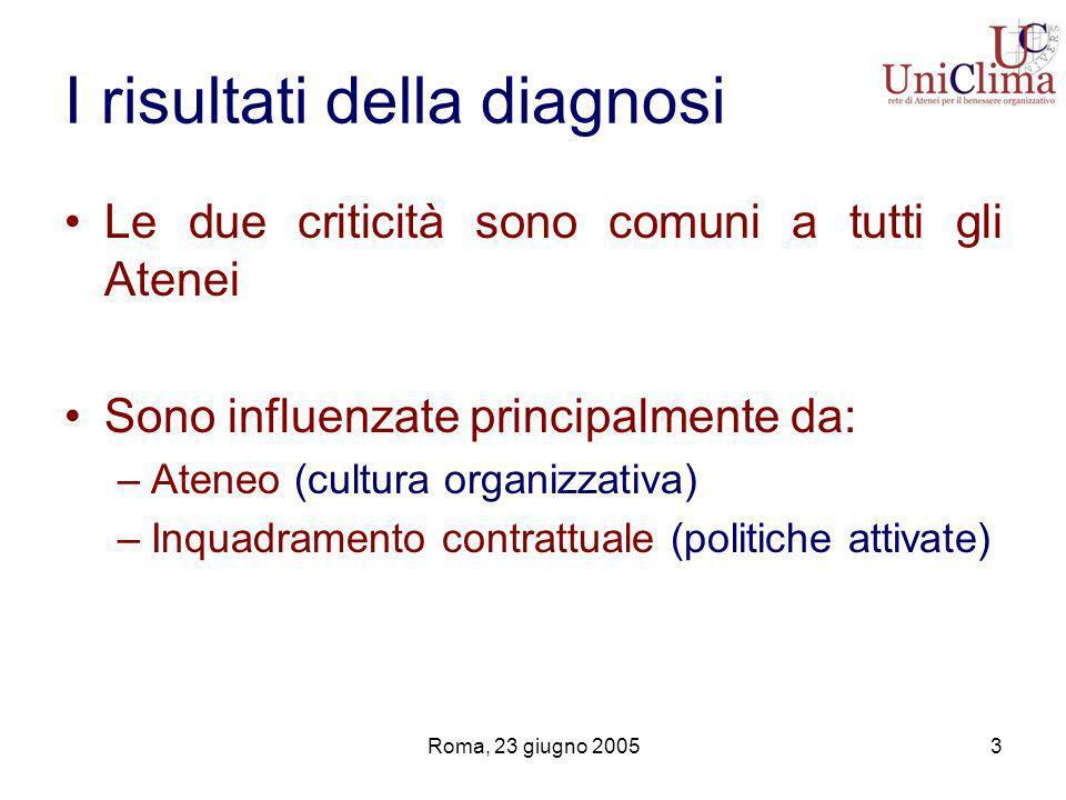 Roma, 23 giugno 20053 I risultati della diagnosi Le due criticità sono comuni a tutti gli Atenei Sono influenzate principalmente da: –Ateneo (cultura organizzativa) –Inquadramento contrattuale (politiche attivate)