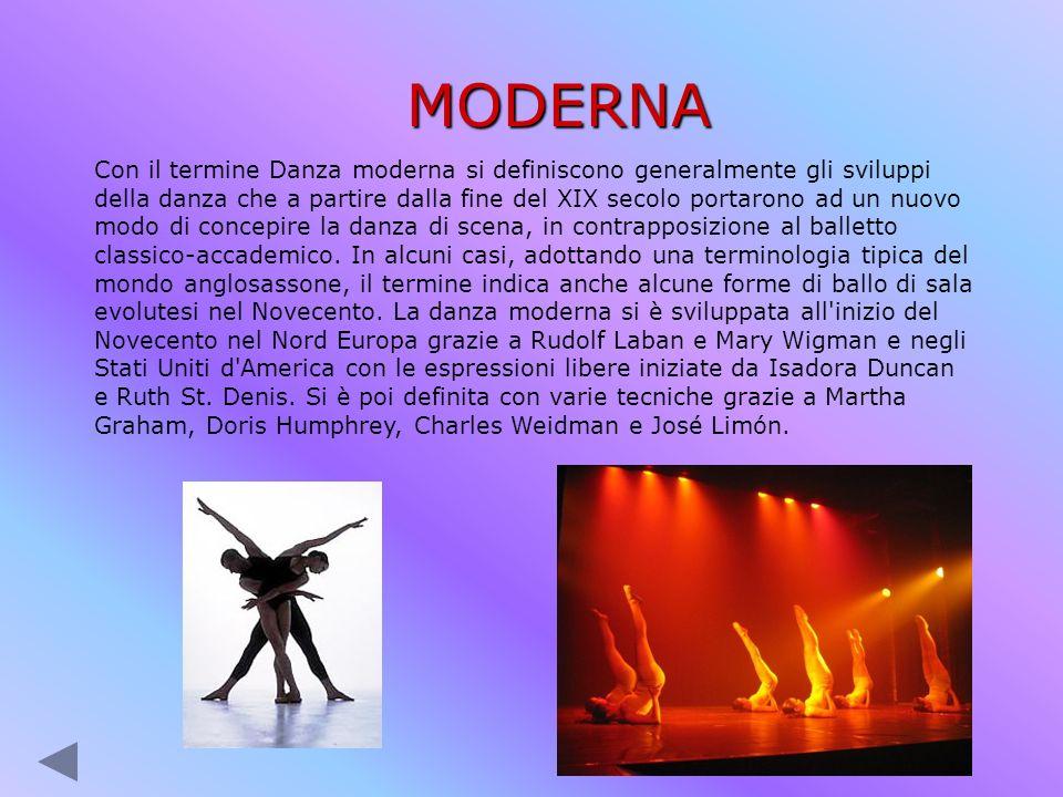 MODERNA Con il termine Danza moderna si definiscono generalmente gli sviluppi della danza che a partire dalla fine del XIX secolo portarono ad un nuov