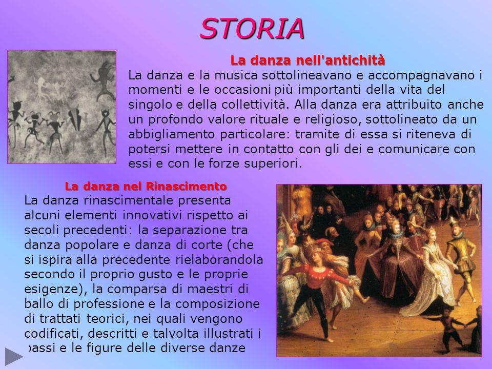 STORIA La danza nel Rinascimento La danza rinascimentale presenta alcuni elementi innovativi rispetto ai secoli precedenti: la separazione tra danza p