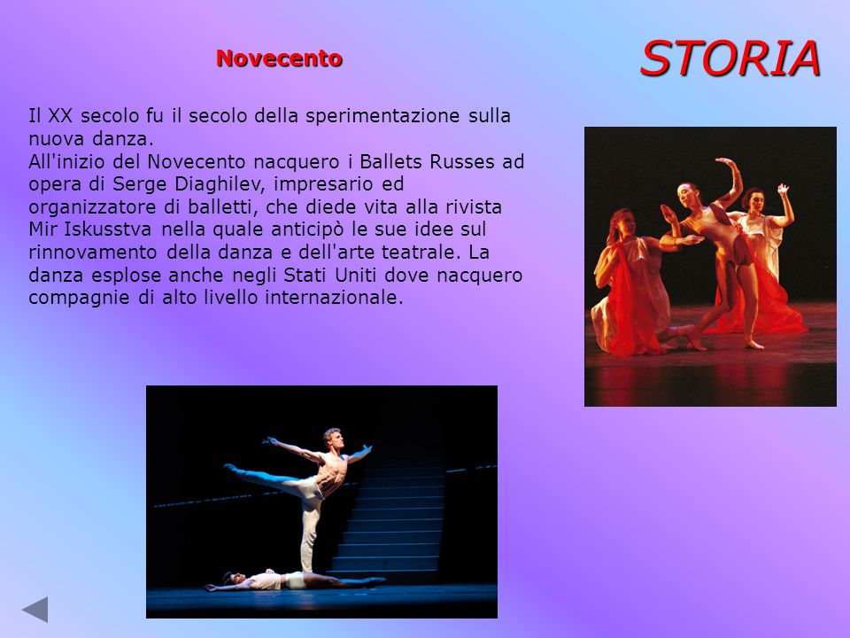 STORIA Novecento Il XX secolo fu il secolo della sperimentazione sulla nuova danza. All'inizio del Novecento nacquero i Ballets Russes ad opera di Ser