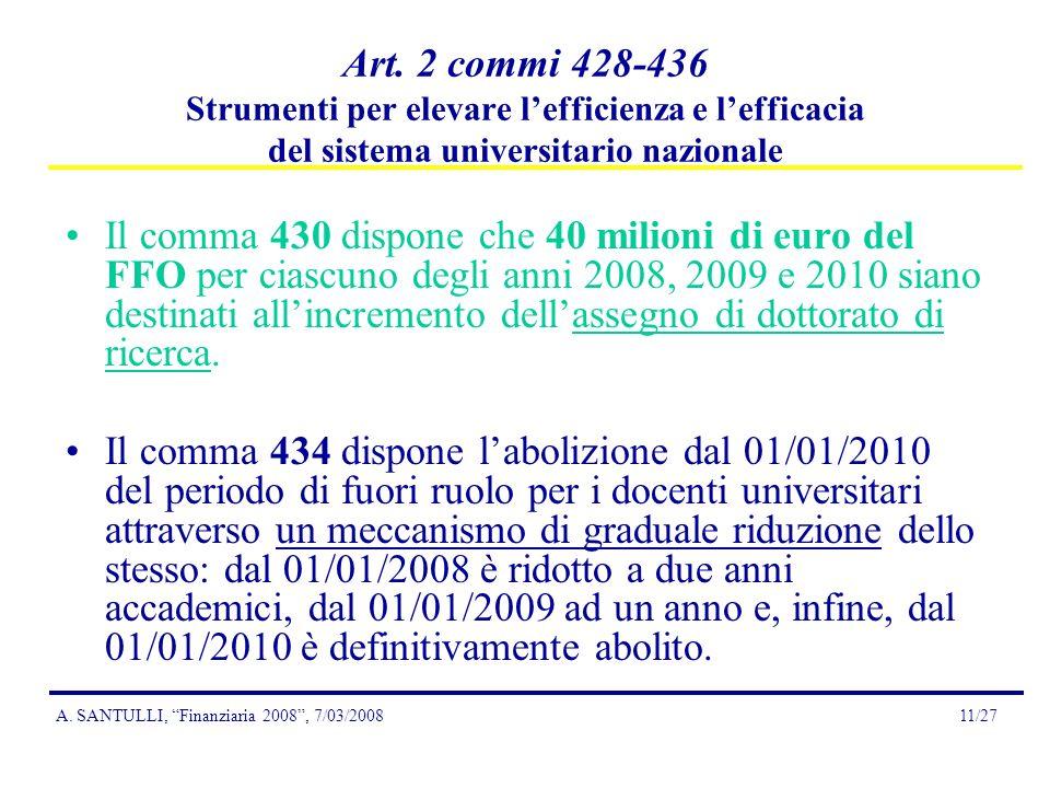 A. SANTULLI, Finanziaria 2008, 7/03/200811/27 Art.