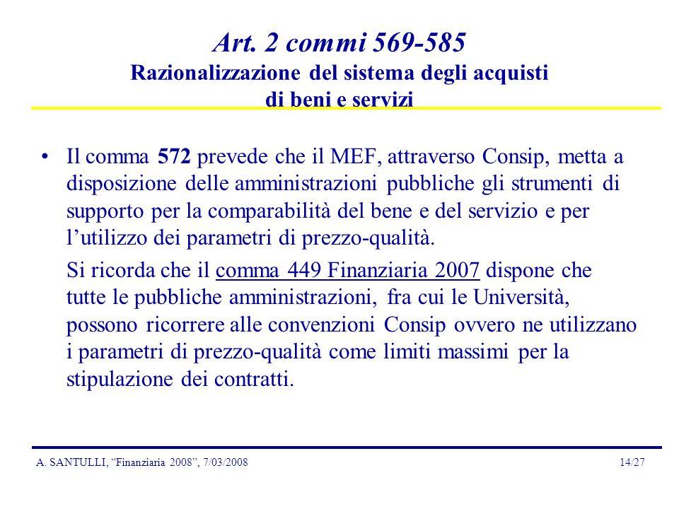 A.SANTULLI, Finanziaria 2008, 7/03/200814/27 Art.