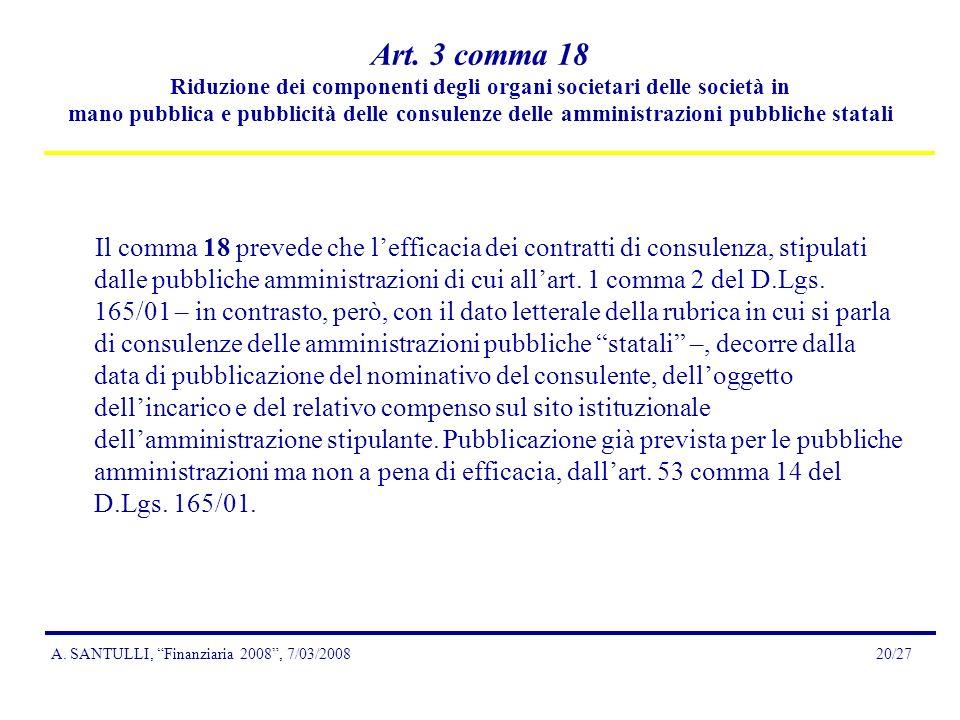 A. SANTULLI, Finanziaria 2008, 7/03/200820/27 Art.
