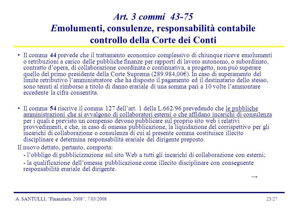 A.SANTULLI, Finanziaria 2008, 7/03/200823/27 Art.