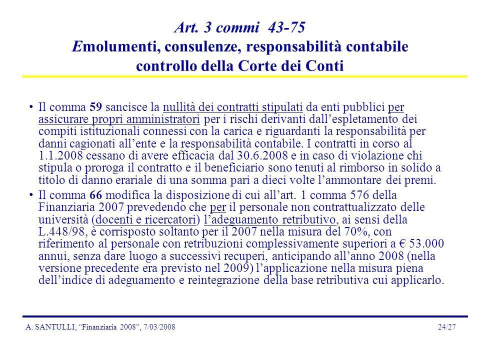 A. SANTULLI, Finanziaria 2008, 7/03/200824/27 Art.