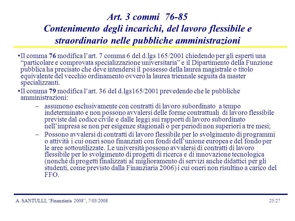 A. SANTULLI, Finanziaria 2008, 7/03/200825/27 Art.