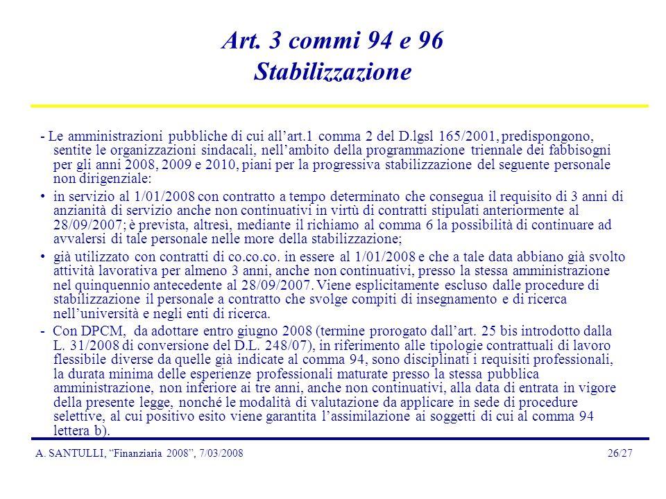 A.SANTULLI, Finanziaria 2008, 7/03/200826/27 Art.