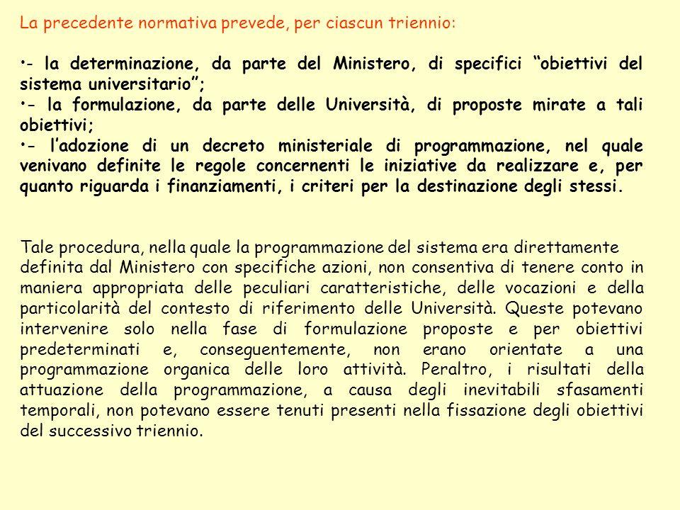 La precedente normativa prevede, per ciascun triennio: - la determinazione, da parte del Ministero, di specifici obiettivi del sistema universitario;