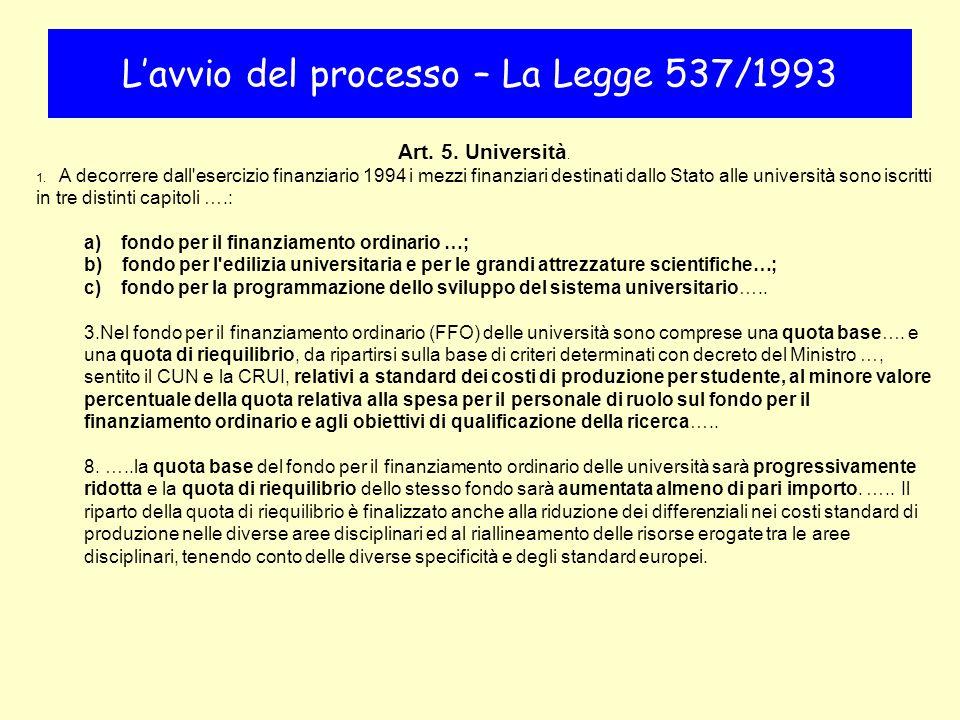Art. 5. Università. 1. A decorrere dall'esercizio finanziario 1994 i mezzi finanziari destinati dallo Stato alle università sono iscritti in tre disti