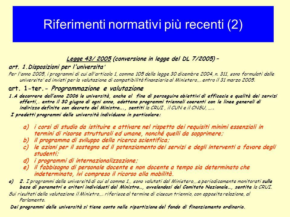 Legge 43/ 2005 (conversione in legge del DL 7/2005) – art. 1.Disposizioni per l'universita ' Per l'anno 2005, i programmi di cui all'articolo 1, comma
