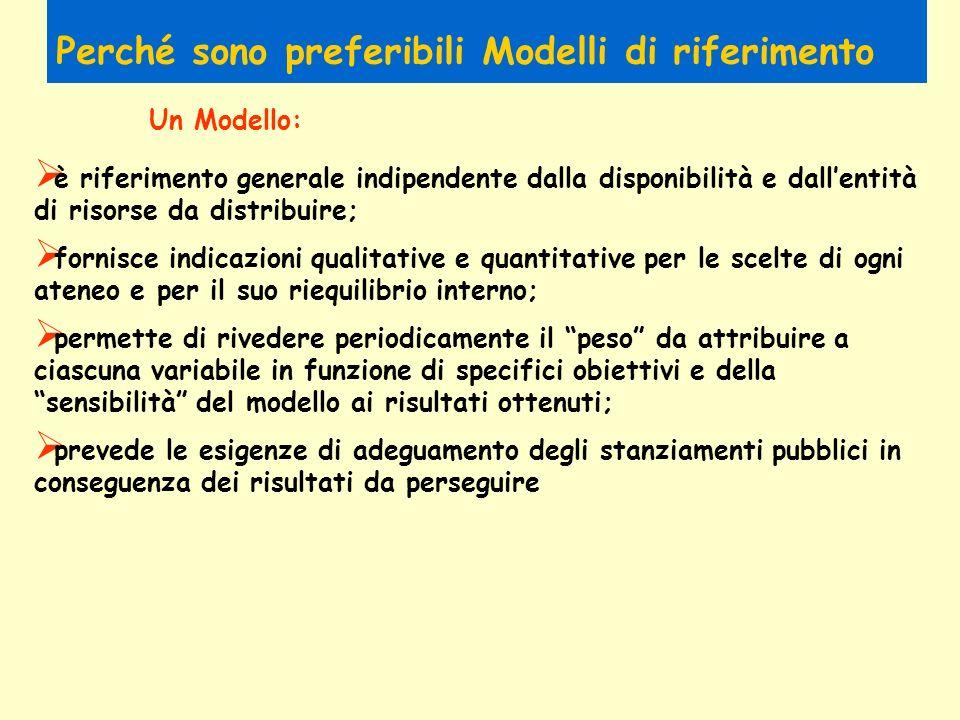 Perché sono preferibili Modelli di riferimento è riferimento generale indipendente dalla disponibilità e dallentità di risorse da distribuire; fornisc